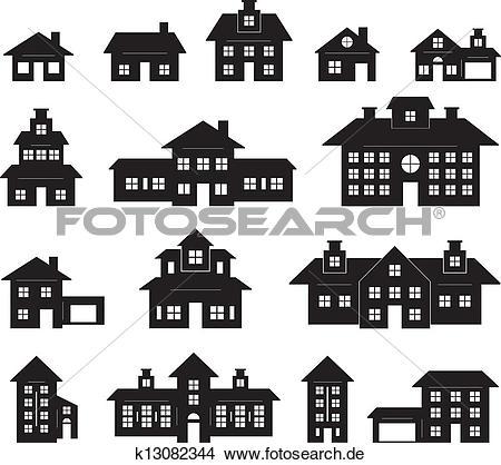 Haus clipart schwarz wei clipart black and white download Clipart - haus, schwarz weiß k13082344 - Suche Clip Art ... clipart black and white download