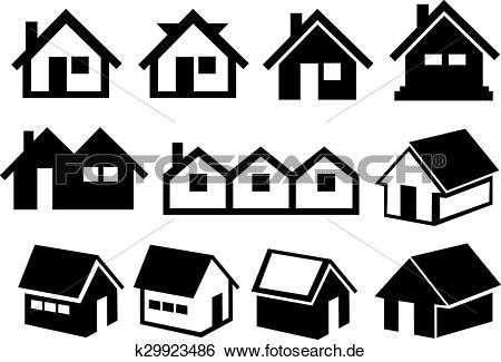 Haus clipart schwarz wei clip art transparent Clip Art - schwarz weiß, satteldach, haus- ikone, satz k29923486 ... clip art transparent