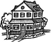 Haus clipart schwarz wei clip transparent library Stock Illustration of two storey house b/w szo0437 - Search EPS ... clip transparent library