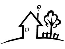 Haus clipart schwarz wei clip freeuse download Silhouette Of House And Garden Royalty Free Stock Photo - Image ... clip freeuse download