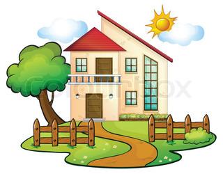 Haus mit garten clipart svg library Haus, garten, häuser | Vektorgrafik | Colourbox svg library