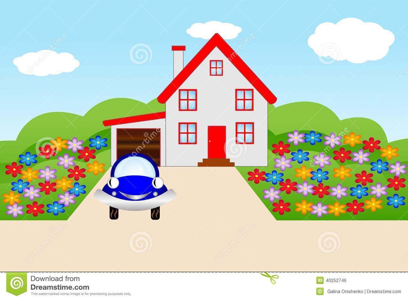 Haus mit garten clipart clip art transparent stock Beautiful House With A Flowering Garden Stock Vector - Image: 40252746 clip art transparent stock