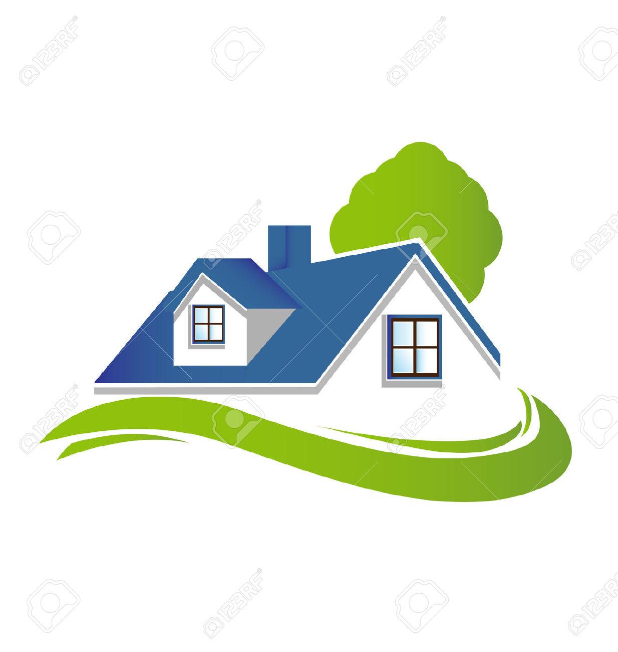 Haus mit garten clipart banner download Häuser Wohnungen Mit Baum Und Grünen Garten Vektor-Symbol-Logo ... banner download