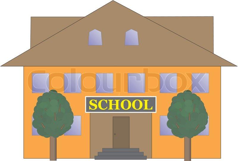 Haus mit garten clipart image transparent download School building vector illustration | Stock Vector | Colourbox image transparent download