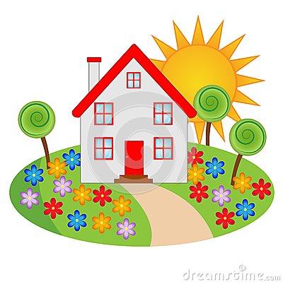 Haus mit garten clipart clip Beautiful House With A Flowering Garden Stock Vector - Image: 40252746 clip