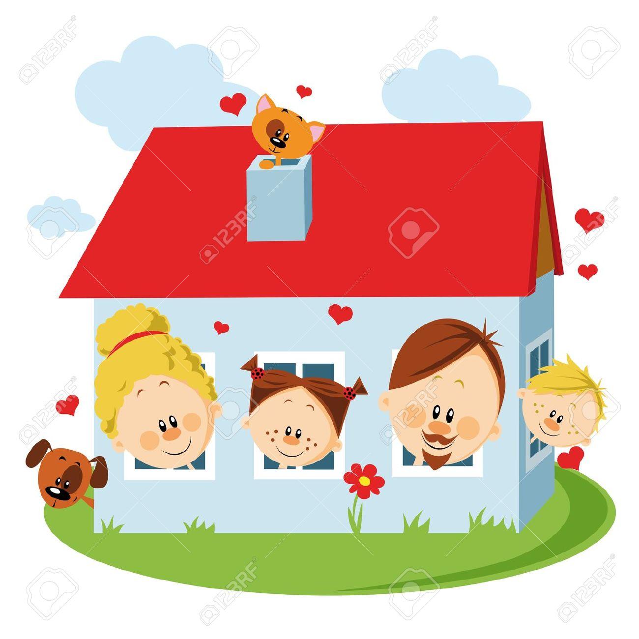Haus mit garten clipart image stock Familie haus clipart - ClipartFest image stock