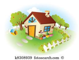 Haus mit garten clipart graphic black and white Garden house Clip Art Illustrations. 5,963 garden house clipart ... graphic black and white