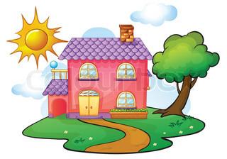 Haus mit garten clipart clip royalty free library Kindergarten haus clipart - ClipartFest clip royalty free library