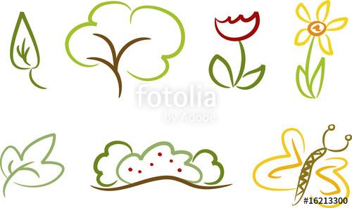Haus und garten clipart banner free stock Clipart-Set (Natur): Baum, Blume, Schmetterling, Blatt ...