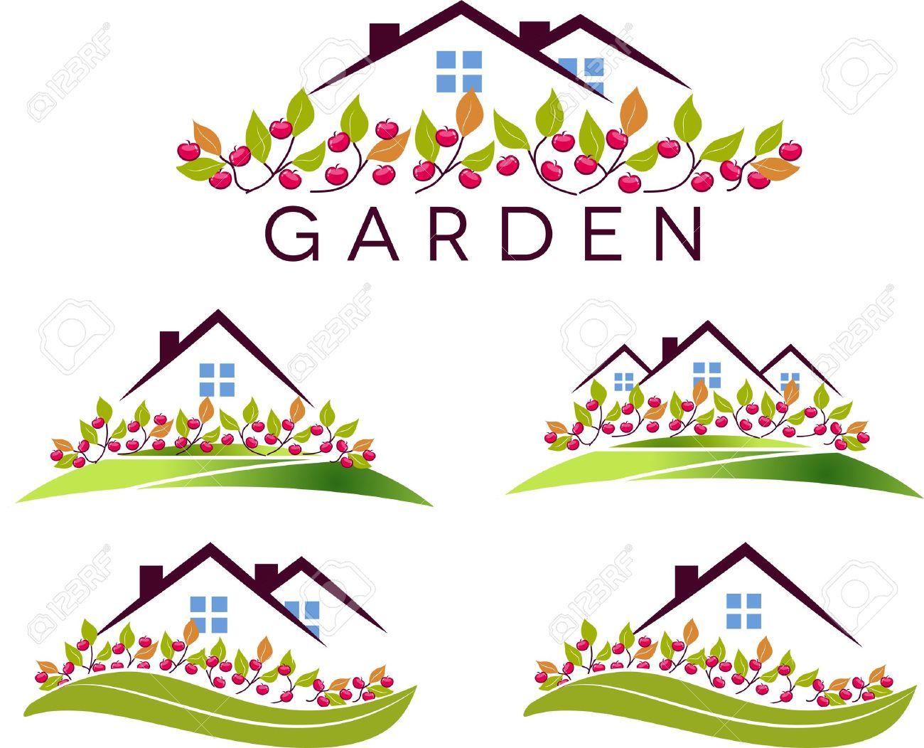 Haus und garten clipart freeuse stock Fruit Haus Und Garten Schöner Garten, Apfelbäume Und Rasen Auf ... freeuse stock