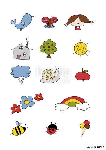 Haus und garten clipart jpg black and white Buntes Clipart-Set: Haus, Tiere und Garten