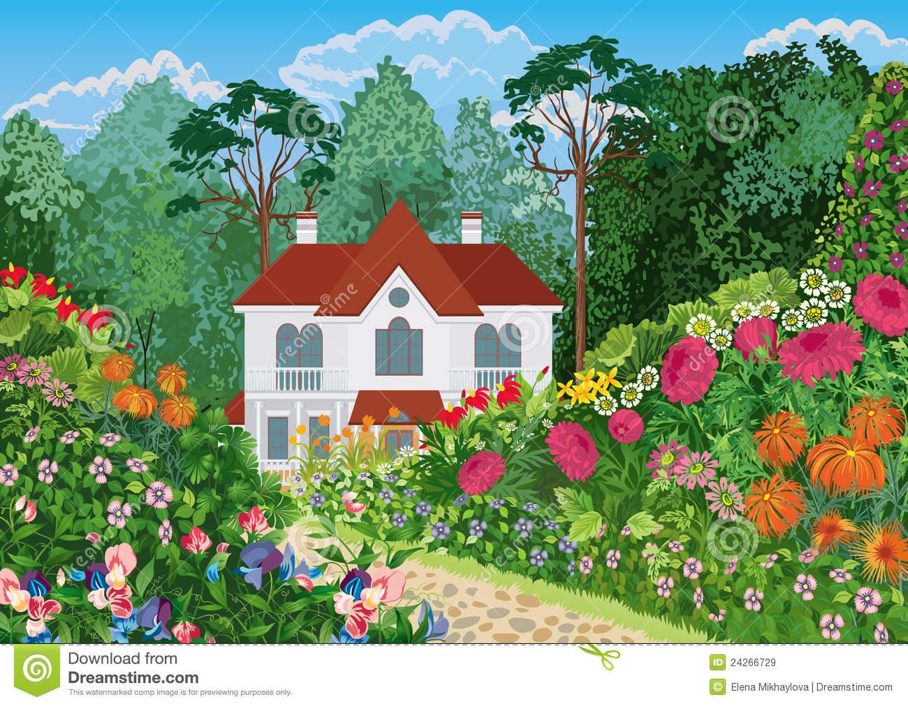 Haus und garten clipart vector royalty free Haus Im Garten Lizenzfreie Stockbilder - Bild: 24266729 vector royalty free