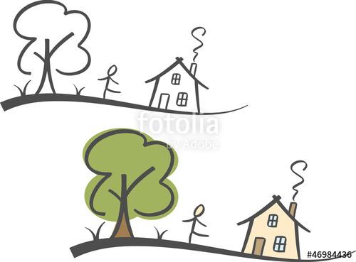 Haus und garten clipart free Farbige Illustration: Haus und Garten