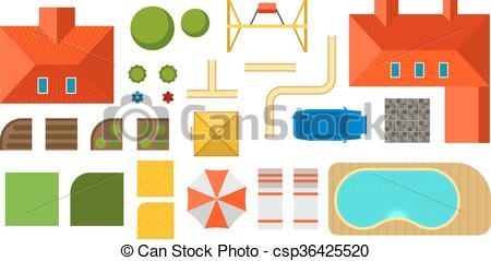 Haus von oben clipart graphic library Vektor Illustration von wohnung, rasen, haus, Oberseite, hof ... graphic library