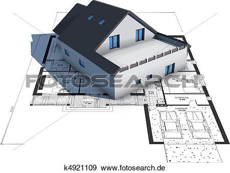 Haus von oben clipart png black and white stock Clip Art - architektur, modell, haus, oben, pläne k4921109 - Suche ... png black and white stock