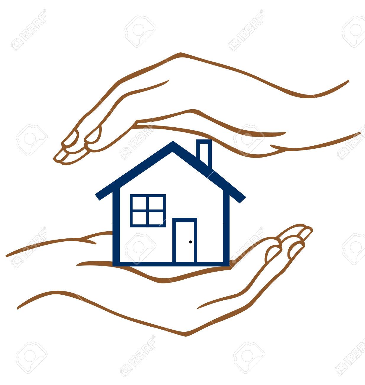 Haus von oben clipart clipart royalty free Zwei Hände Auf Oben Und Unten Ein Haus Schützen. Lizenzfrei ... clipart royalty free