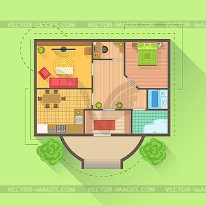 Haus von oben clipart clip download Boden Interieur Design-Projekt-Ansicht von oben - Vektor-Clipart ... clip download