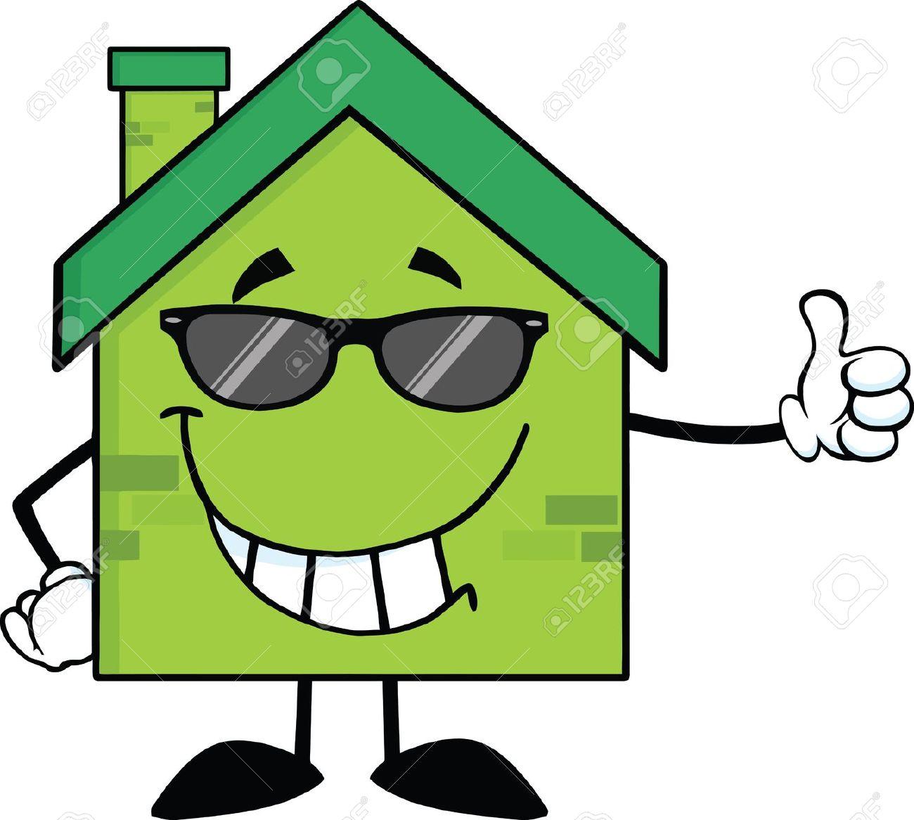 Haus von oben clipart graphic royalty free stock Green Eco Haus Cartoon-Figur Mit Sonnenbrille Mit Einem Daumen ... graphic royalty free stock
