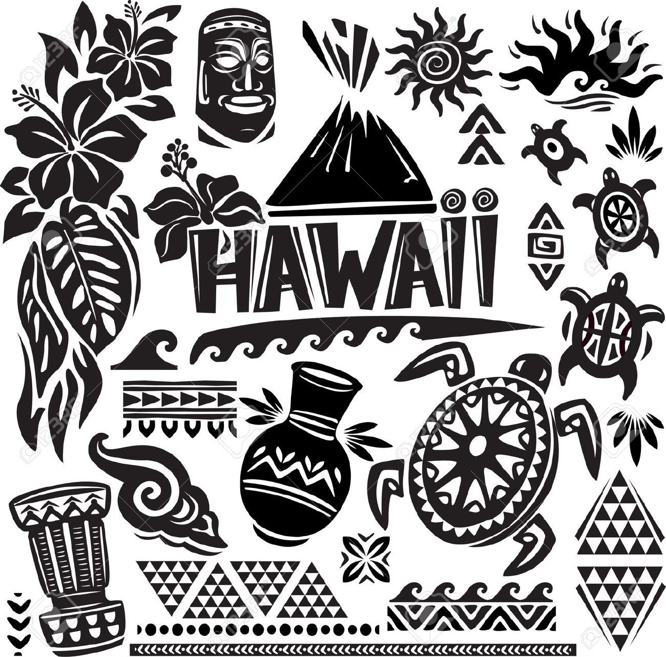Hawaii black and white clipart banner transparent download hawaii set (hawaiian, tribal, hawaii clipart | Logos and Fonts in ... banner transparent download