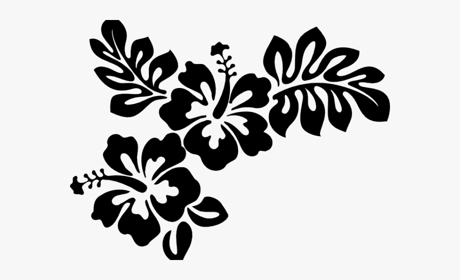 Hawaii flower border clipart black and white jpg free Hibiscus Clipart Black And White - Black And White Hawaiian Flowers ... jpg free