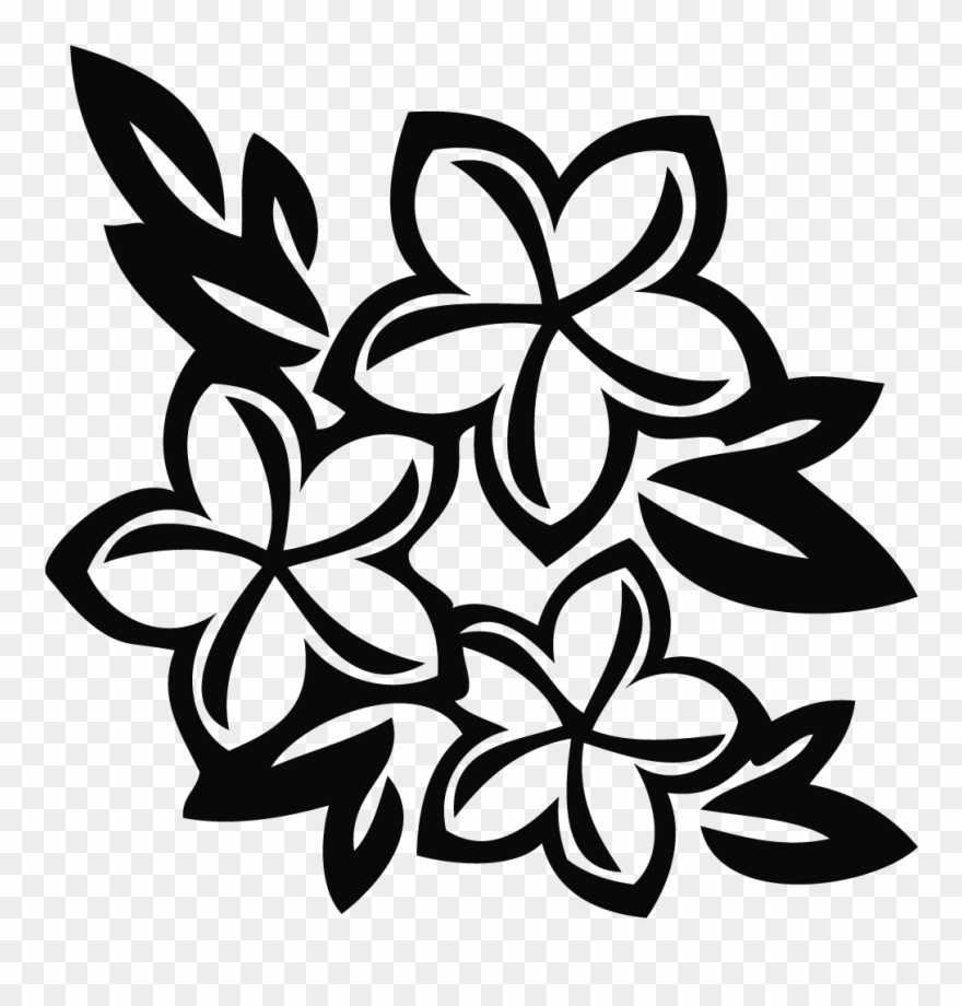 Hawaii flower border clipart black and white clip transparent download Hawaiian Flower Black And White Clip Art Clipart - Hawaiian Flower ... clip transparent download