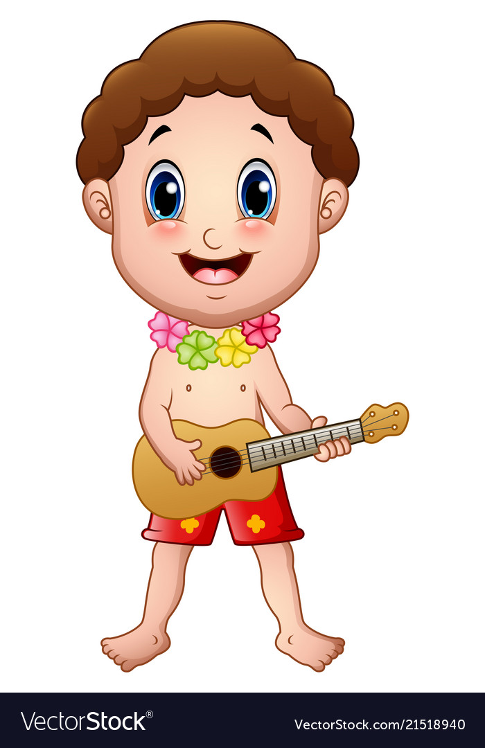 Hawaiian boy clipart clipart black and white download Hawaiian boy playing a guitar clipart black and white download