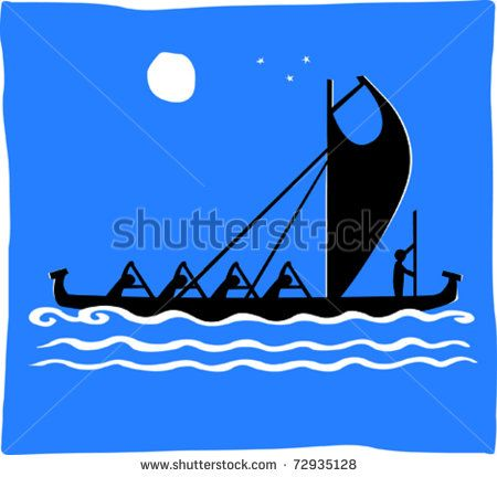 Hawaiian canoe clipart clip free download Retro Men Paddling Tropical Warrior Outrigger Canoe Racing At ... clip free download