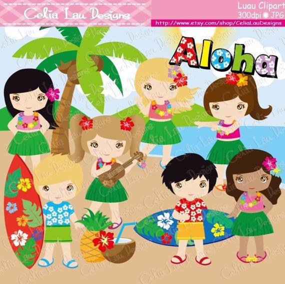 Hawaiian luau party clipart clip art library stock Luau Party Clipart, Cute Hula Girl and boy clipart / Hawaiian party ... clip art library stock