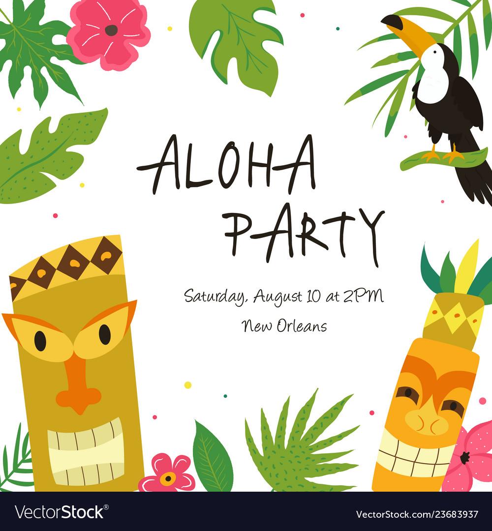Hawaiian luau party clipart svg black and white download Hawaiian luau party invitation template banner svg black and white download