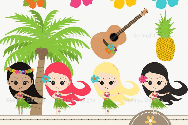 Hawaiian luau party clipart clip black and white stock Hawaiian Luau Party Clipart, Aloha Hula Girls, Coconut Tree, Hibiscus  Flower, Guitar, Pineapple clip black and white stock