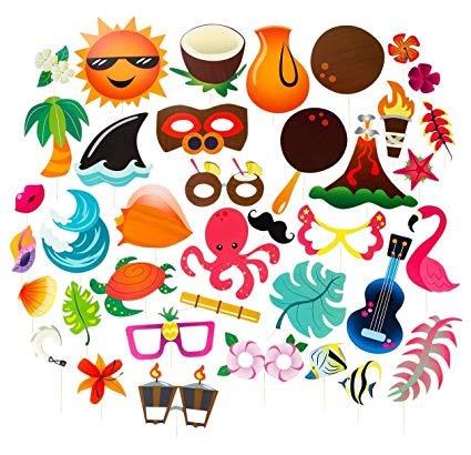 Hawaiian luau party clipart image black and white Amazon.com: Luau Photo Booth Props - 72-Pack Luau Party Supplies ... image black and white