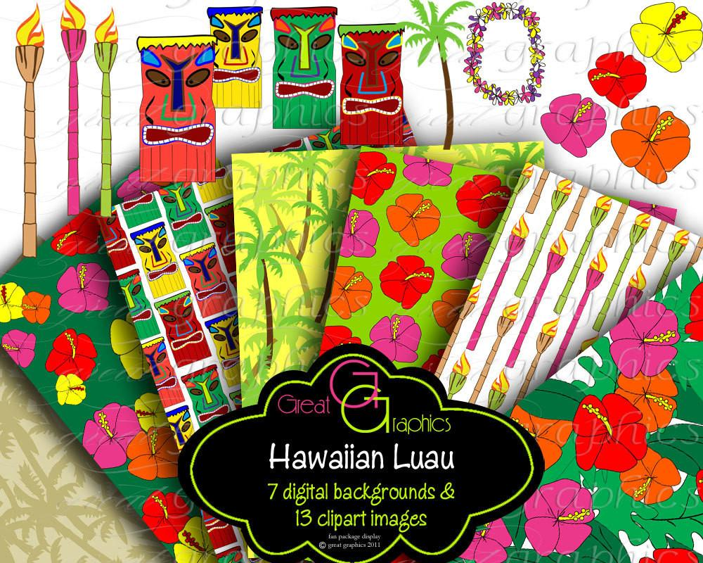 Hawaiian luau party clipart image freeuse stock Hawaiian Luau Digital Paper Luau Party Clip Art Hawaii Luau Clipart  Hawaiian Party Digital Paper Printable - Instant Download image freeuse stock