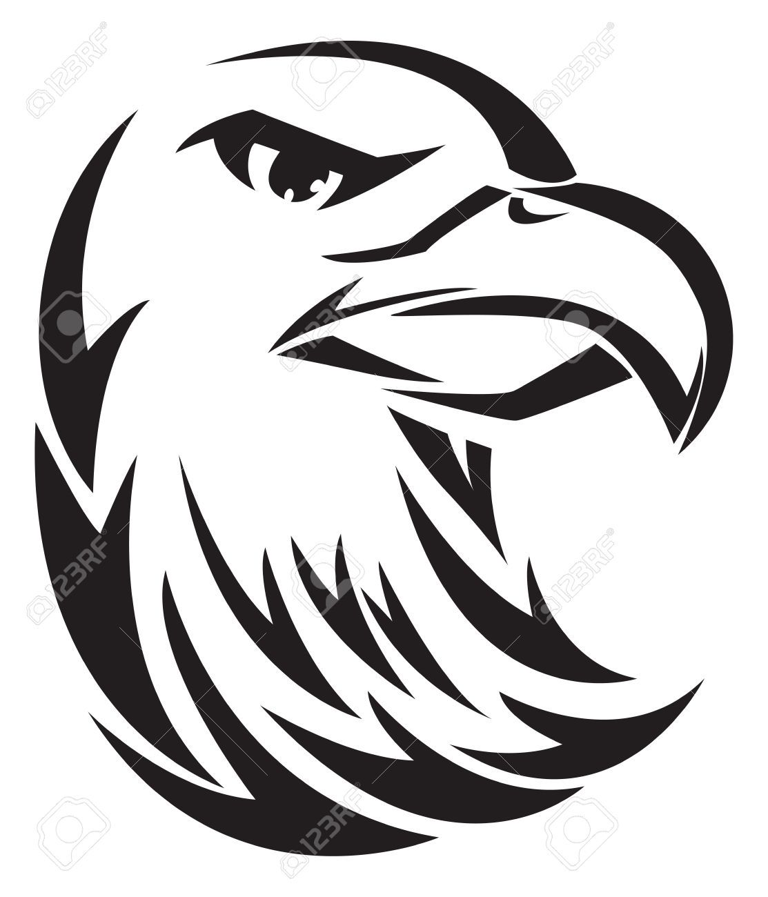 Hawk head clipart vector black and white library Hawk Head Stock Vector Illustration And Royalty Free Hawk Head ... vector black and white library
