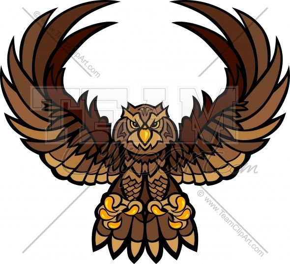 Hawk wing clipart vector royalty free download Owl Mascot Clipart - Clipart Kid | barn graphic ideas | Hawk wings ... vector royalty free download