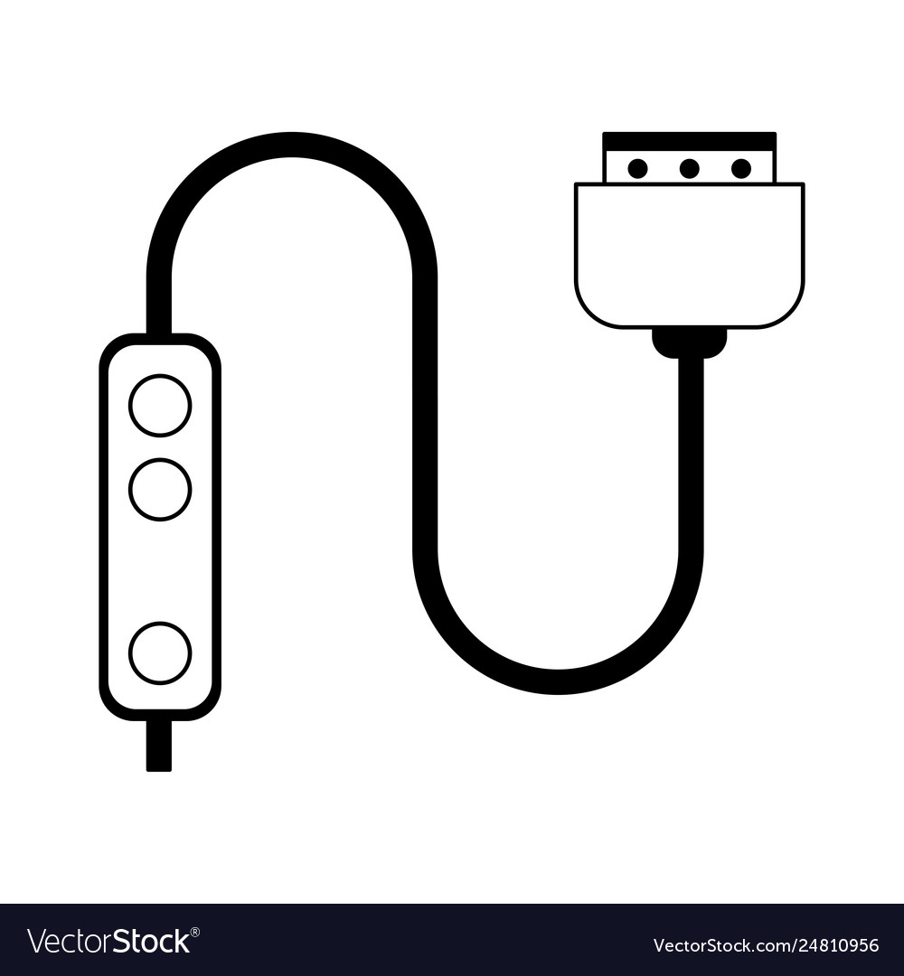 Hdmi cable clipart image black and white Hdmi cable technlogy device in black and white vector image image black and white