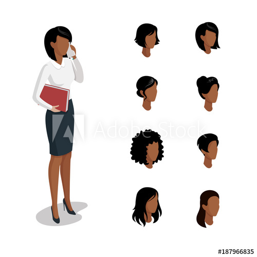 Head hair style clipart clip art free library Flat isometric head face types woman hair style constructor vector ... clip art free library
