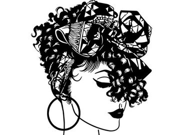 Head wrap clipart vector transparent stock Black Woman Turban Head Wrap Diva Classy Lady Nubian Queen | C - 270 ... vector transparent stock