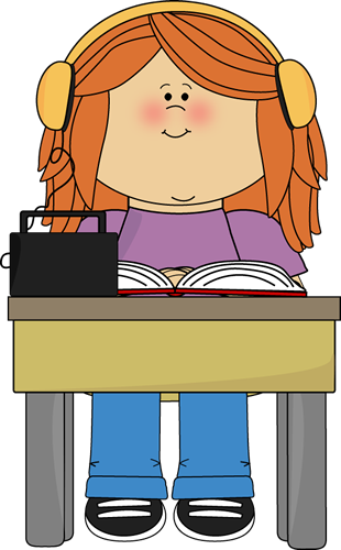 Headphones book clipart library Girl Listening to Book with Headphones Clip Art - Girl Listening ... library