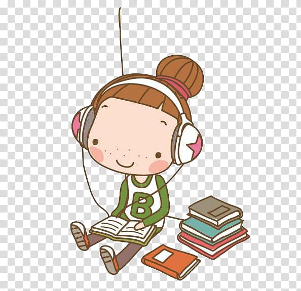 Headphones book clipart banner library download Girl listening to headphones while reading book art, Cartoon Song ... banner library download