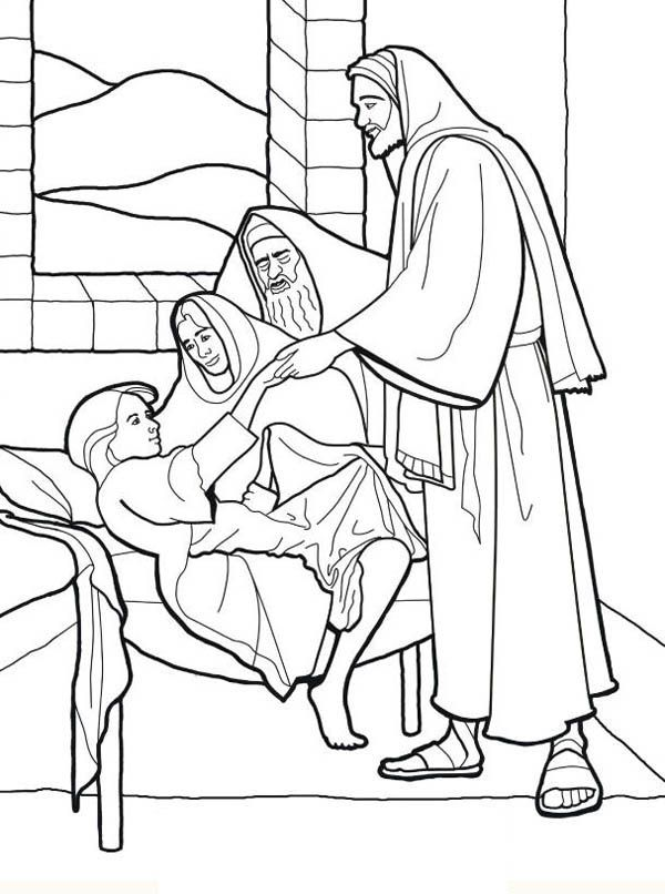 Healing the sick lds clipart black and white jpg Sick Girl Who Healed by Miracles of Jesus Coloring Page | Jairus ... jpg