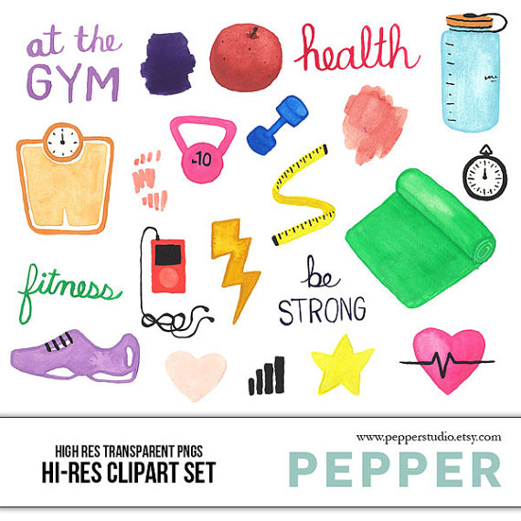 Health fitness clipart vector transparent stock INSTANT DOWNLOAD - Health & Fitness Watercolor Illustration ... vector transparent stock