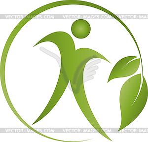 Health logo clipart jpg free Human, leaves, fitness, sport, health, logo - vector clipart jpg free