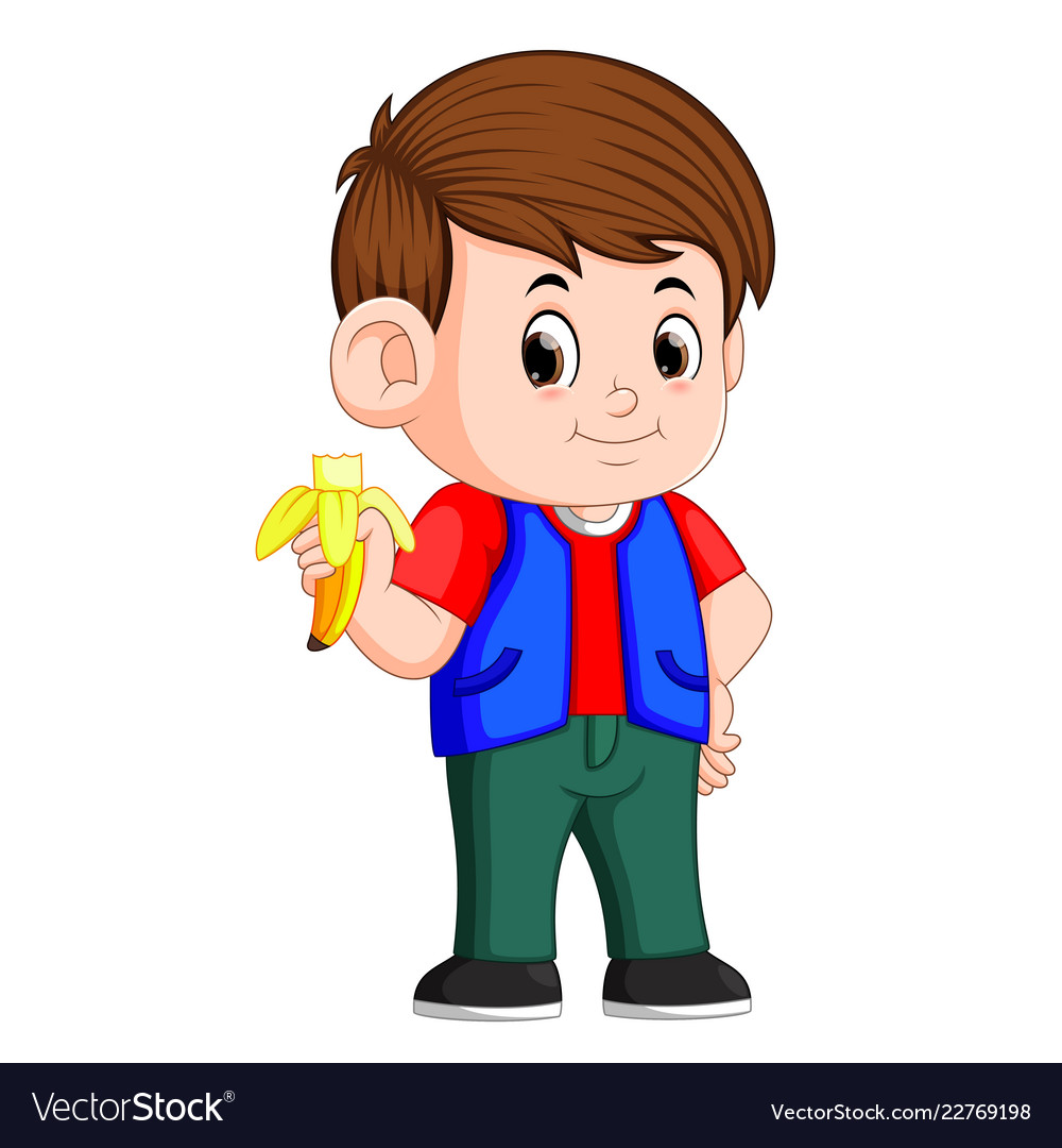 Healthy boy clipart clip library stock Healthy little boy eating banana clip library stock