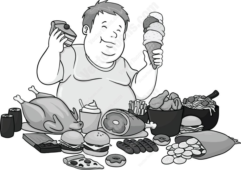 Healthy food fats clipart black and white svg library library Overweight man enjoying lots of fattening foods #diet ... svg library library