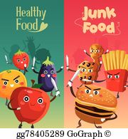 Healthy food vs junk food clipart image free Unhealthy Food Clip Art - Royalty Free - GoGraph image free