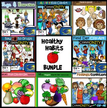 Healthy habits clipart image Healthy Habits Clip-Art Bundle! 150+ Clip-Art pieces! Yoga, Health, and  more! image
