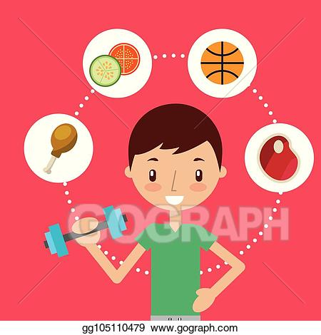 Healthy habits clipart graphic download Vector Illustration - Boy and girl healthy good habits. EPS ... graphic download
