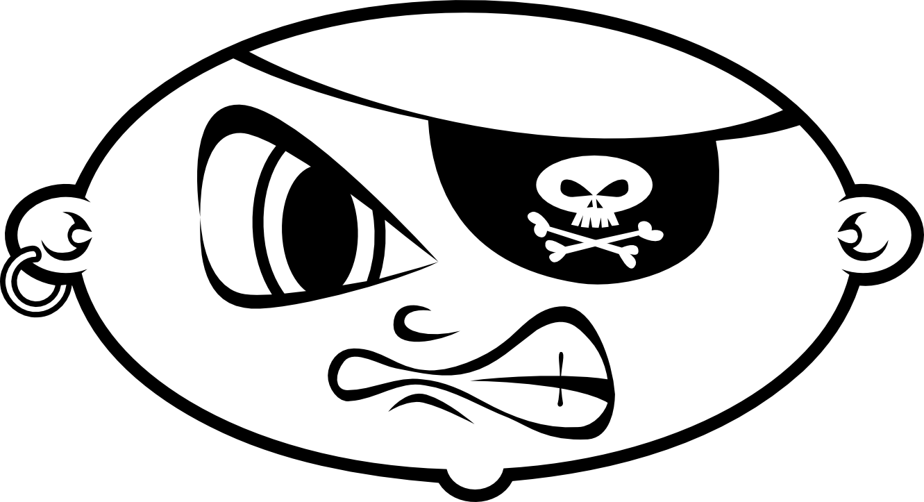Healthy heart clipart black and white image black and white Pirate head with hat clipart black and white image black and white