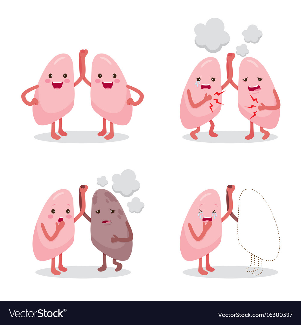 Healthy lungs clipart png library stock Lungs healthy and sickness set cartoon character vector image png library stock