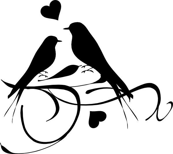 Heart and bird clipart picture black and white Bird Silhouette Tattoo | Birds On A Branch clip art - vector clip ... picture black and white